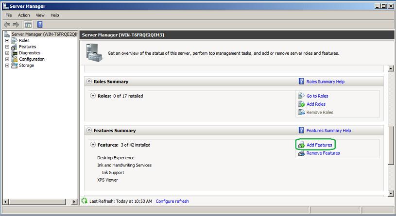 Server Manger - Add Features