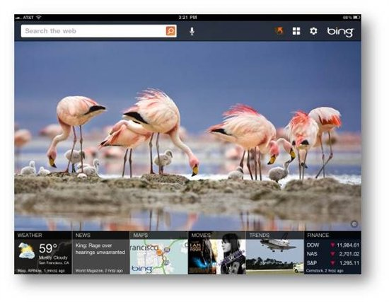 Microsoft introduces Bing app for iPad.
