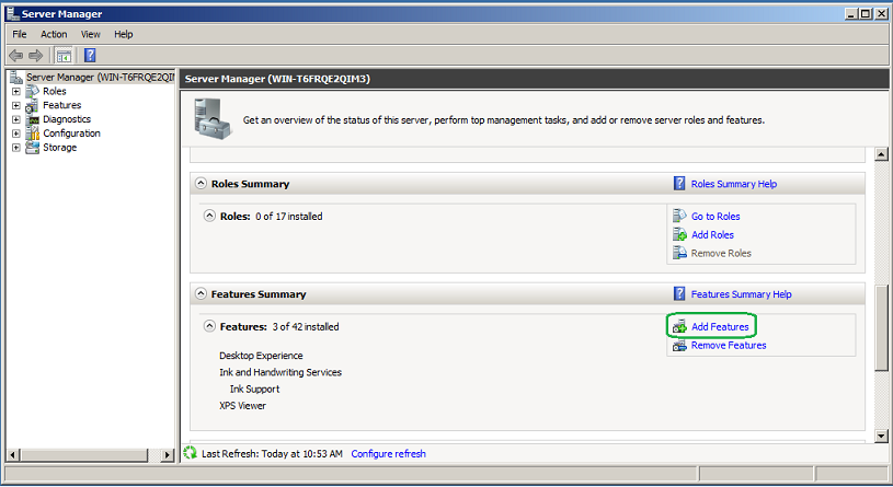Add Features - Server Manager