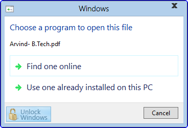 Windows 8 7989 unlocked features: New Open With option