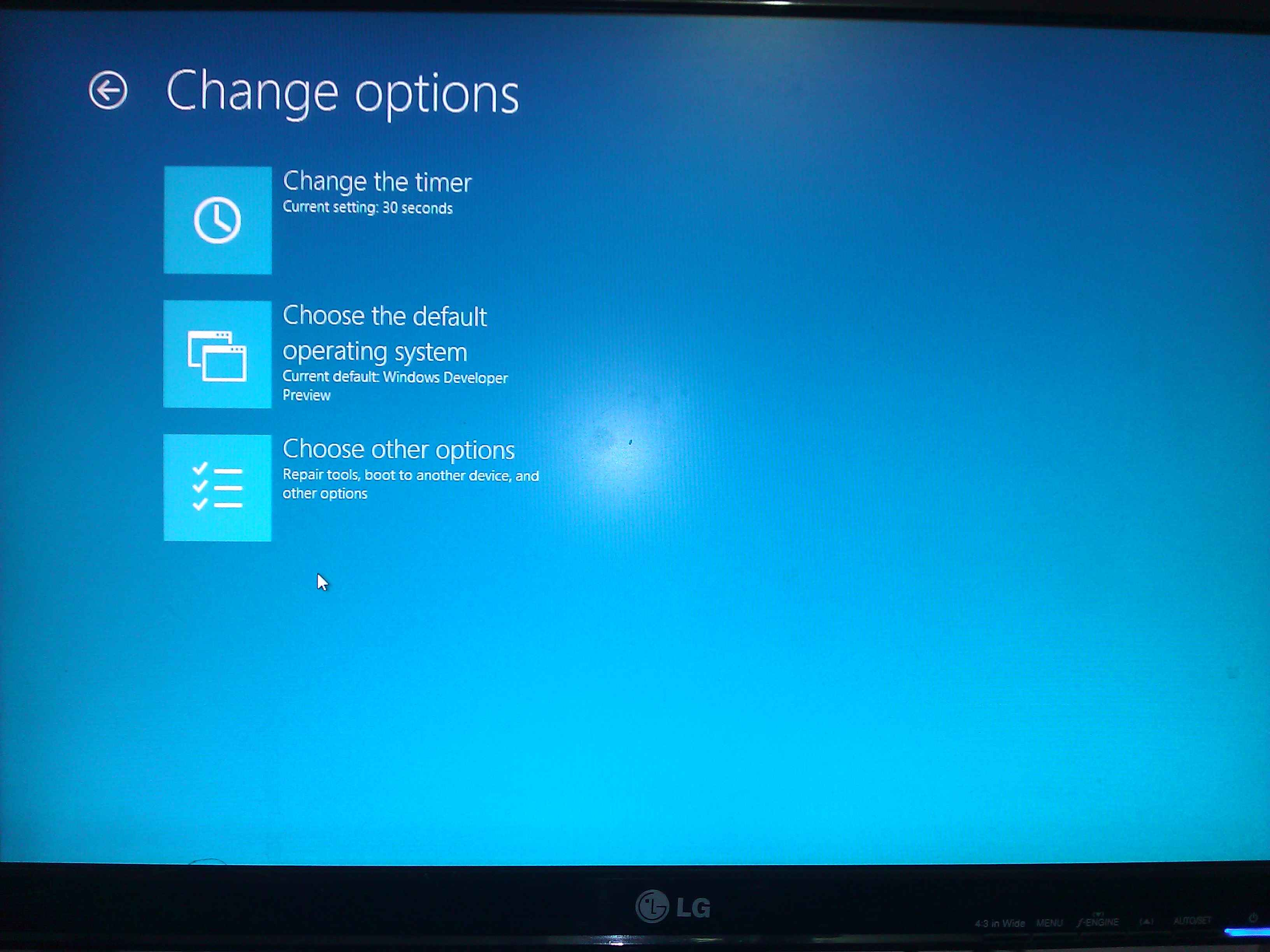 New boot menu in Windows 8 Developer Preview