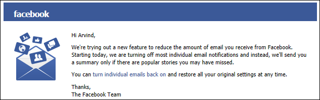 how to change the notification emails on facebook