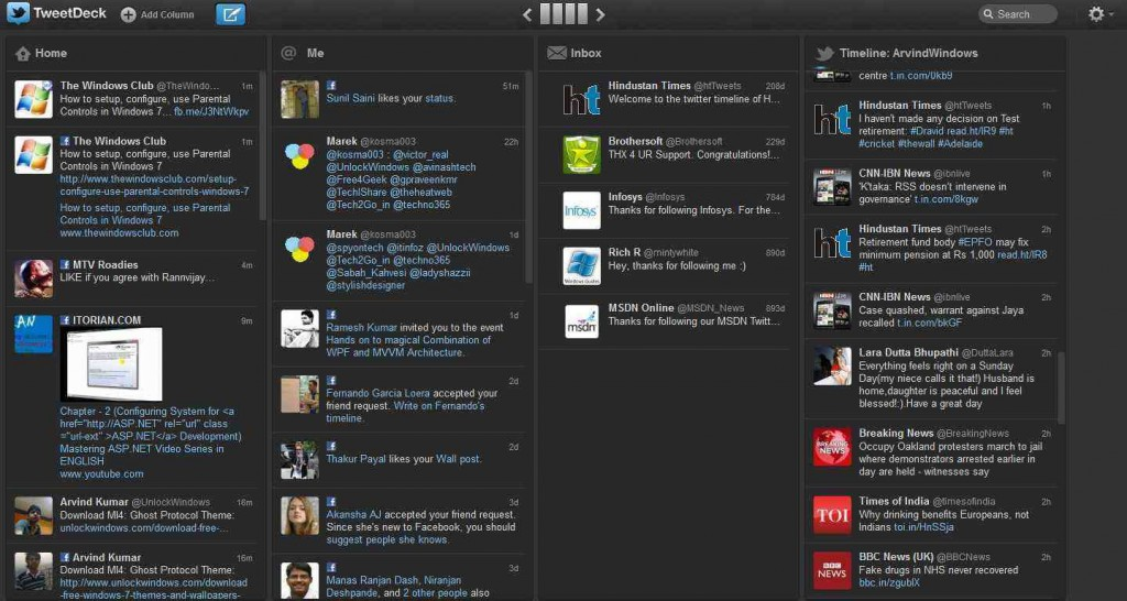 TweetDeck - a free app by Twitter to manage multiple accounts of