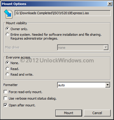 Mount ISO File in Windows