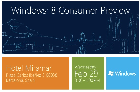 Windows 8 Consumer Preview will be released on Feb 29