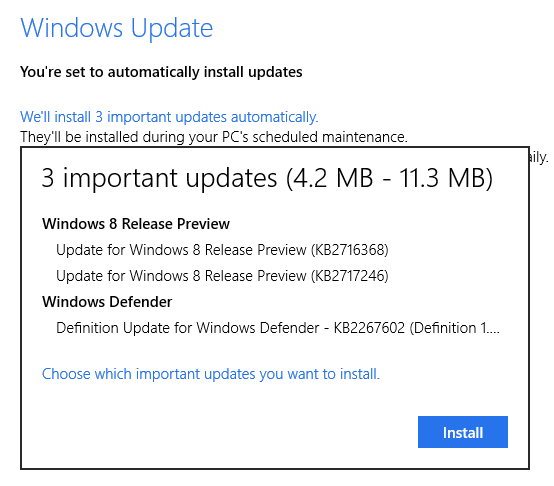 Windows 8 Release Preview Updates