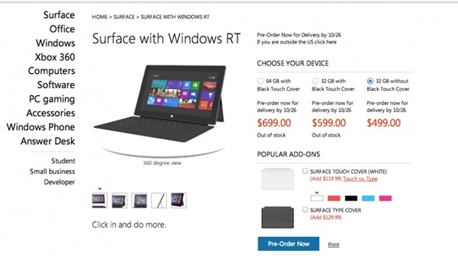 Microsoft Surface Tablet Pricing