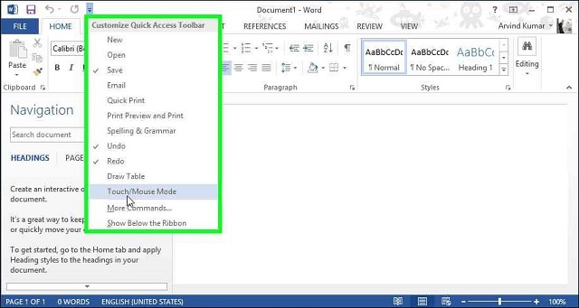 Enable Touch Mode Office 2013