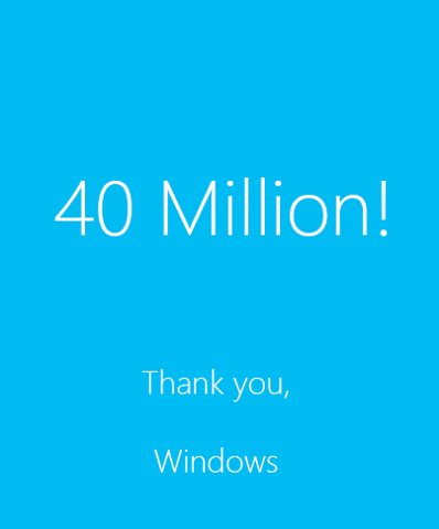 Microsoft sold 40 million licenses of Windows 8