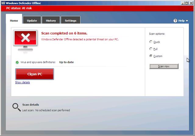 Windows Defender Offline Clean PC