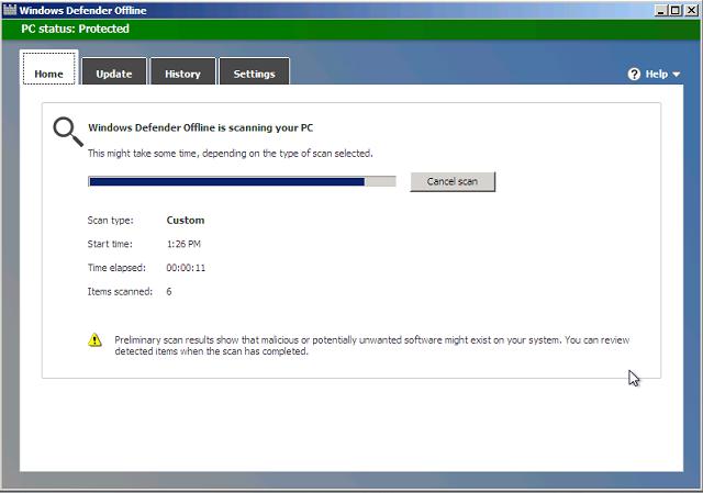 Windows Defender Offline Scanning Results