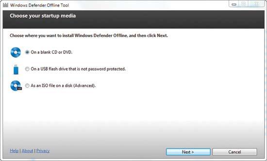 Windows Defender Offline Tool Installation