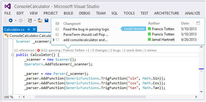 Visual Studio 2013 RC Code Lens