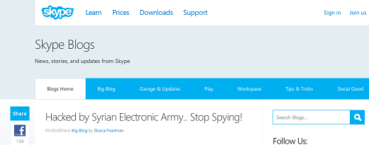 Skype's twitter, facebook and blog hacked by SEA