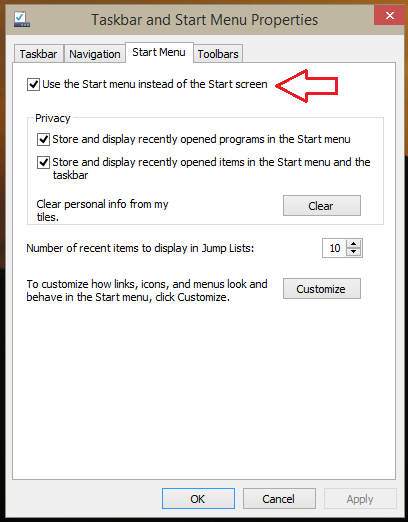 Taskbar Start Menu Properties Windows 10
