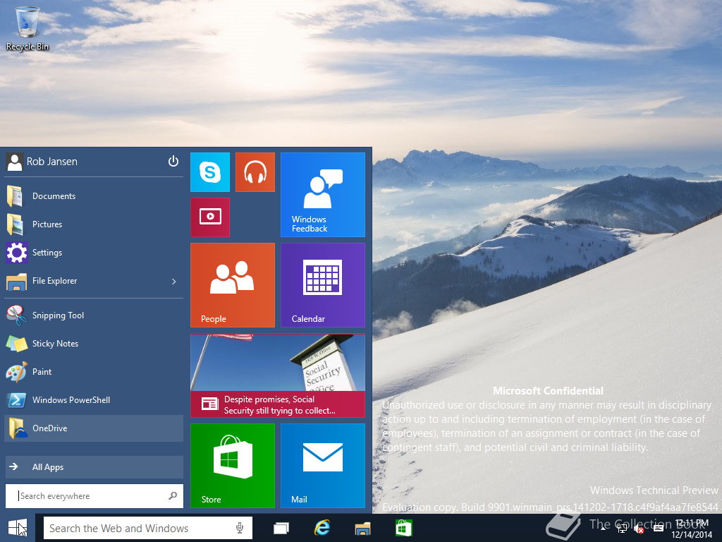 Windows 10 Build 9901 Start Menu