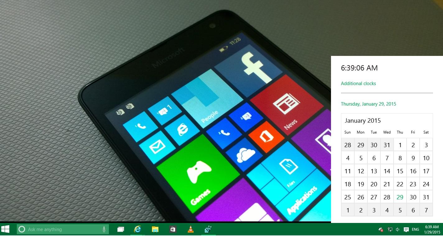 Hidden Calendar in Windows 10