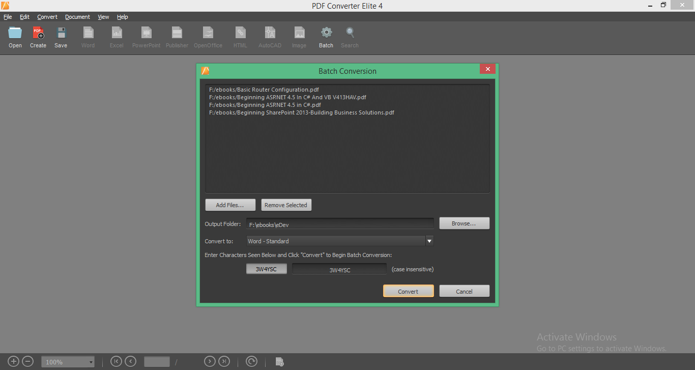 PDF Converter Elite 4 Batch Conversion
