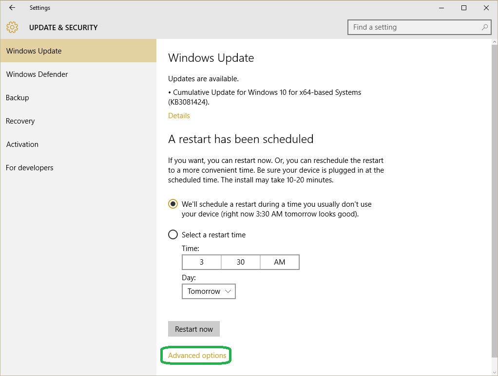 Windows 10 Update & Security Option