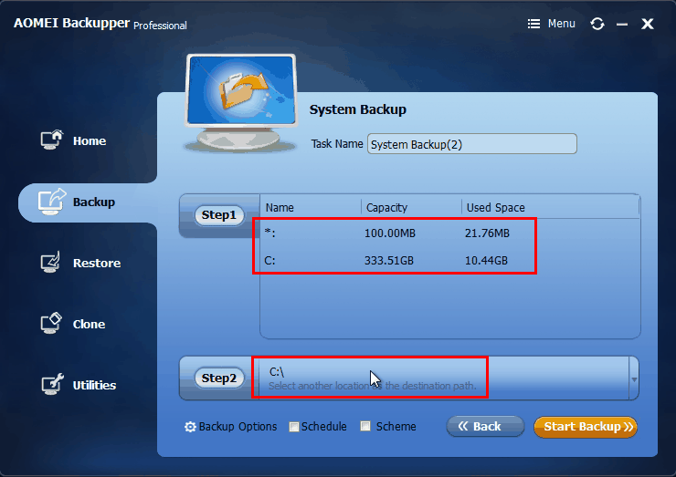 AOMEI Backupper - Backup Windows