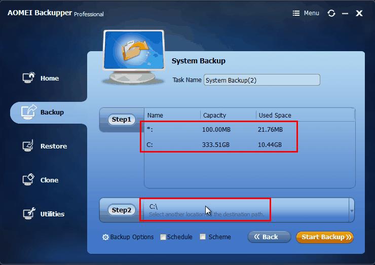 AOMEI Backupper - Backup Windows
